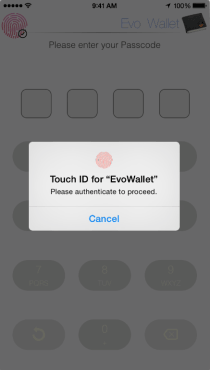 EvoWallet, Apple's Touch ID support, Access to your data more secure and faster.