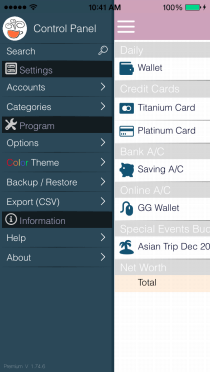 EvoWallet, Control Panel : Easier to access to any screens.