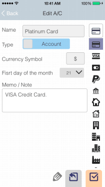 EvoWallet, Account : Edit name, icon and currency symbol for each account.
