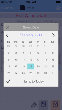 EvoWallet, Mini Calendar : Clean, Clear and simple.