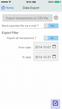 EvoWallet, Export : Easy to export all or time period to CSV file formatted, with option to send via e-mail.